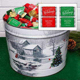 Personalized Snow Covered Mill 10 lb Happy Holidays Hershey's Mix Tin