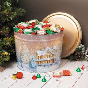 Personalized Hershey's Merry Christmas Mix Home for the Holidays Tin - 14 lb