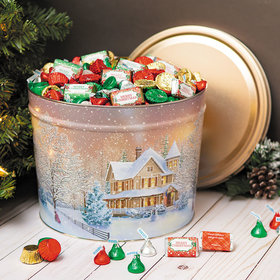 Personalized Hershey's Merry Christmas Mix Home for the Holidays Tin - 10 lb