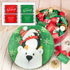 Personalized Cold But Cozy 1 lb Snow Family Hershey's Holiday Mix Tin