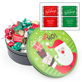 Personalized Santa with Gifts 1 lb Hershey's Holiday Mix Tin