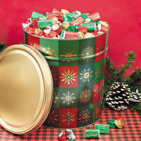 Personalized Hershey's Happy Holidays Mix Glistening Gold Tin - 20 lb