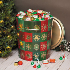 Personalized Hershey's Merry Christmas Mix Glistening Gold Tin - 20 lb