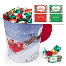 Personalized Santa's Sleigh Merry Christmas Hershey's Mix 20lb Tin
