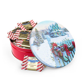 Christmas Mail 2lb Tin with Ghirardelli Peppermint Bark Squares