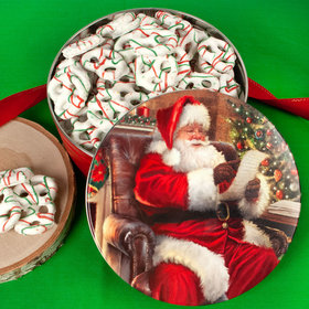 Christmas Checking It Twice Tin with Holiday Yogurt Pretzels (1lb approx 80 pcs)