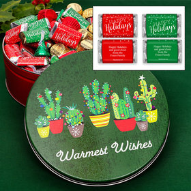 Personalized Festive Cacti 2 lb Happy Holidays Hershey's Mix Tin