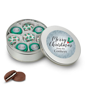 Personalized Merry Christmas Holly Tin in Silver or Gold