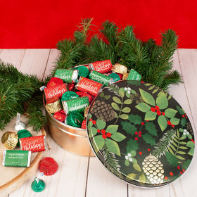Personalized Golden Pinecones 2 lb Happy Holidays Hershey's Mix Tin