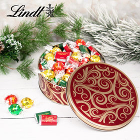 Golden Swirls Happy Holidays 1.8lb Tin Hershey's Miniatures & Lindt Truffles