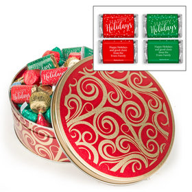 Personalized Golden Swirls 2 lb Happy Holidays Hershey's Mix Tin