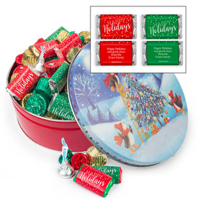 Personalized Penguin Tree 2 lb Happy Holidays Hershey's Mix Tin