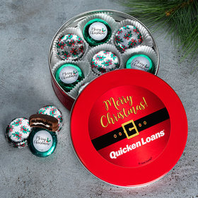 Personalized Add Your Logo Red Holly Chocolate Covered Oreo Tin
