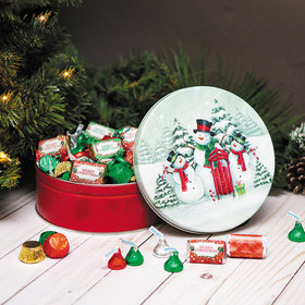 Personalized Hershey's Merry Christmas Snow Family Gift Tin - 2 lb