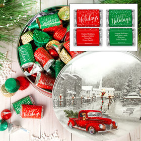 Personalized Snowy Drive 2 lb Happy Holidays Hershey's Mix Tin