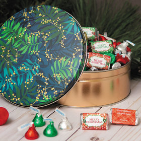 Personalized Hershey's Merry Christmas Touch of Gold Gift Tin - 2 lb