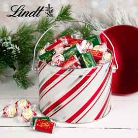 Candy Stripes Happy Holidays 2.9lb Tin Hershey's Miniatures & Peppermint Lindt Truffles