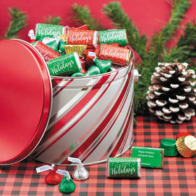 Personalized Candy Stripes 3.5 lb Happy Holidays Hershey's Mix Tin
