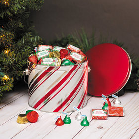 Personalized Hershey's Merry Christmas Candy Stripe Gift Tin - 3.5 lb