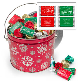 Personalized Red Snowflake 3.5 lb Happy Holidays Hershey's Mix Tin