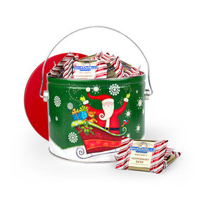 Sparkly Santa 3lb Tin with Ghirardelli Peppermint Bark Squares
