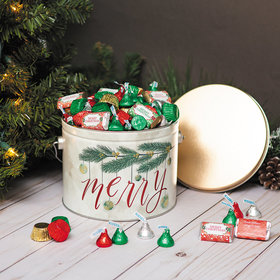 Personalized Hershey's Merry Christmas Very Merry Gift Tin - 3.5 lb