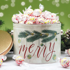 Very Merry 3lb Tin with White Chocolate Peppermint Lindor Truffles by Lindt (Approx 90pcs)