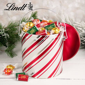 Candy Stripes Happy Holidays 4.6lb Tin Hershey's Miniatures & Lindt Truffles