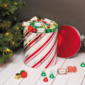 Personalized Hershey's Merry Christmas Mix Candy Stripes Tin - 5 lb