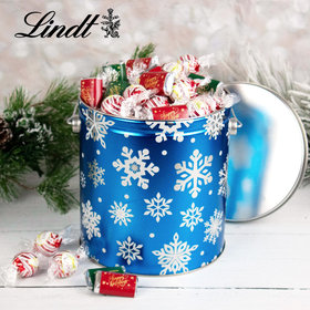Flurries Happy Holidays 4.6lb Tin Hershey's Miniatures & Peppermint Lindt Truffles
