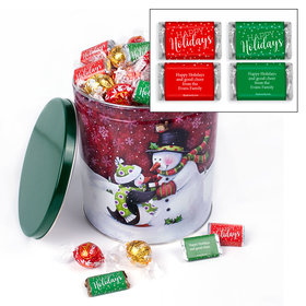 Penguin Present Christmas Happy Holidays 4.6lb Tin Personalized Hershey's Miniatures & Lindt Truffles