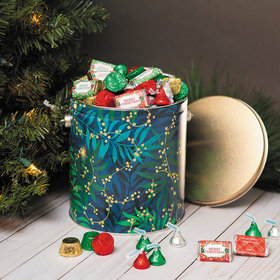Personalized Hershey's Merry Christmas Mix Touch of Gold Tin - 5 lb