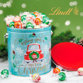 Vintage Christmas 3.55lb Holiday Tin Assorted Lindt Truffles (130pcs)