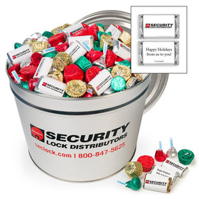 Digitally Printed Add Your Logo 14lb Tin - Hershey's Holiday Assortment
