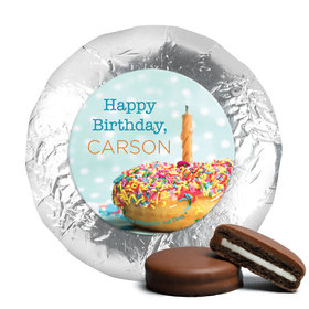 Personalized Birthday Donut Worry Be Happy Chocolate Covered Oreos (24 Pack)