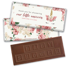 Personalized Baby Shower Floral Unicorn Embossed Chocolate Bar