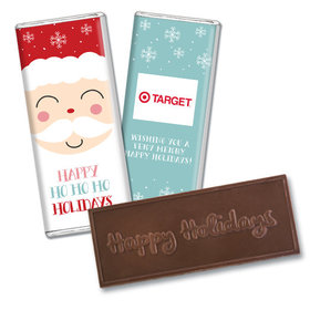 Personalized Christmas Joyful Santa Embossed Chocolate Bar