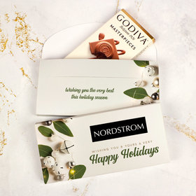 Deluxe Personalized Bells Christmas Godiva Chocolate Bar in Gift Box (3.1oz)