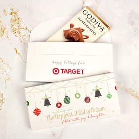 Deluxe Personalized Happiest Ornaments Christmas Godiva Chocolate Bar in Gift Box (3.1oz)