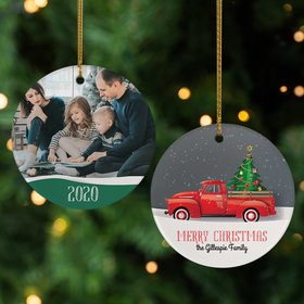 Personalized Red Truck Family Photo