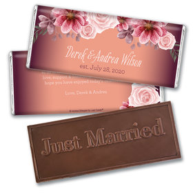 Personalized Blushing Burgundy Wedding Embossed Chocolate Bars