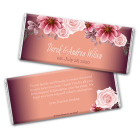 Personalized Blushing Burgundy Wedding Chocolate Bar Wrappers