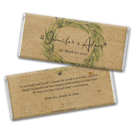 Personalized Sage Wreath Wedding Chocolate Bars
