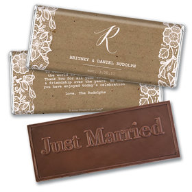 Personalized Floral Lace Wedding Embossed Chocolate Bars