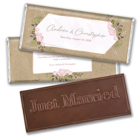 Personalized Botanical Border Wedding Embossed Chocolate Bars