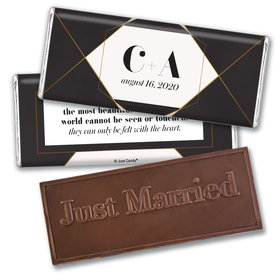 Personalized Elegant Geo Wedding Embossed Chocolate Bars