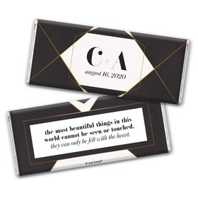 Personalized Elegant Geo Wedding Chocolate Bar Wrappers Only