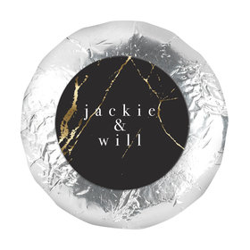 "Personalized Wedding Black & Gold Marble 1.25"" Stickers (48 Stickers)"