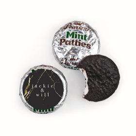 Personalized Wedding Black & Gold Marble Pearson's Mint Patties