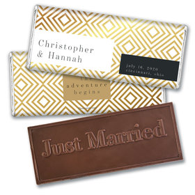 Personalized Love & Bliss Wedding Embossed Chocolate Bars